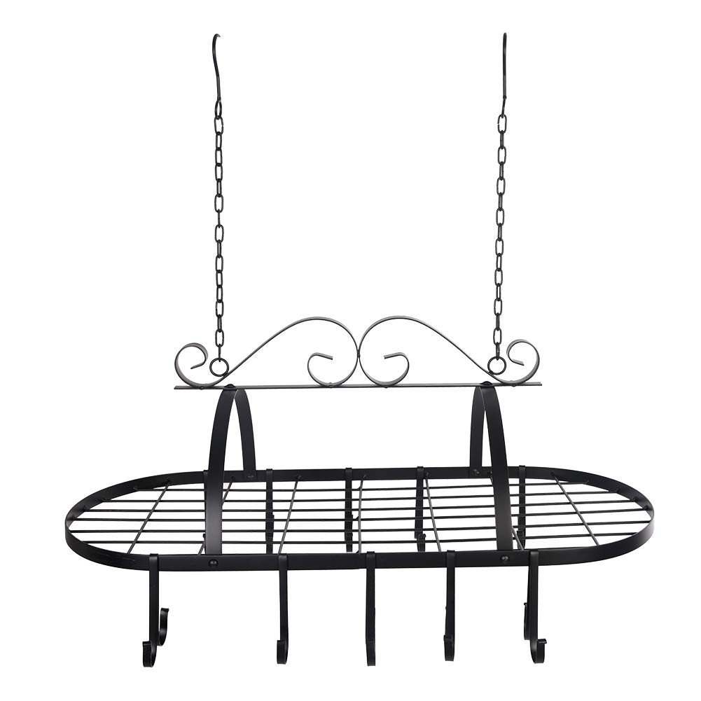 80x40x62cm Rack de cacerolas para Maceta Planta Flor Estante de Almacenamiento de Metal suspendida con 10/Ganchos para utensilio de Cocina Dormitorio Cuarto de ba/ño Porte-casseroles suspendida
