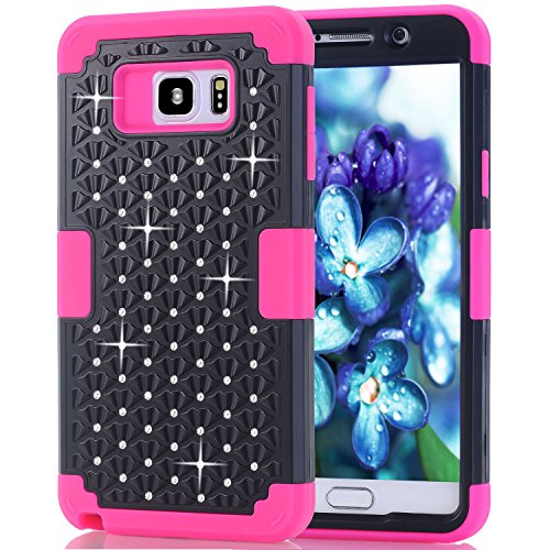 Samsung Galaxy Note 5 Case, NOKEA Diamond Hybrid Heavy Duty Shockproof Full-Body Protective Ultra Slim Bumper Cover 3 in 1 Shield Soft TPU Hard PC Dual Layer Impact Protection (Black Rose)