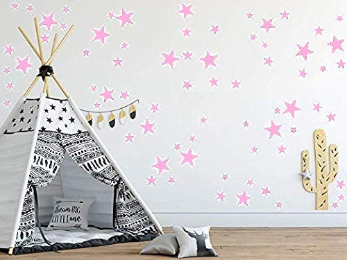 Baby Pink Stars Mix Removable Wall Decals for Kids Room Decoration +