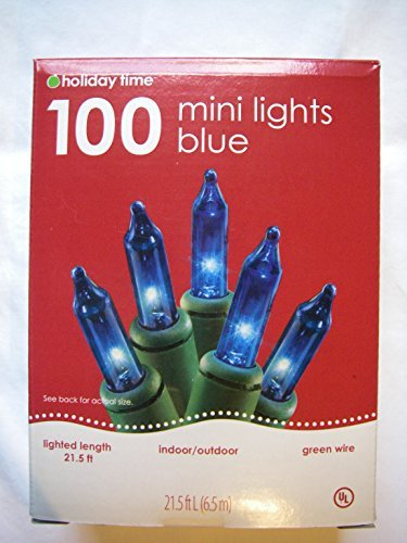 100 Count Mini Light Set - Blue Lights / Green Wire - Indoor or Outdoor Use (21.5 Feet, 6.55 m)