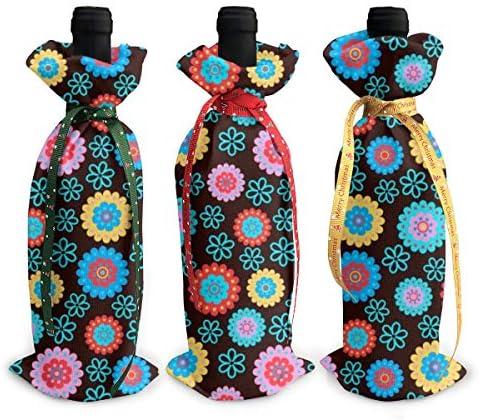 ワインバッグ クリスマスボトルカバー ひまわり 花柄 シャンパンワインボトル3本用 12 X 34cm ワイン収納 3個ーテーマ ボトル装飾 ワインボトル用 かわいいドレス 3種類のデザイン ギフトバッグ 保管用 ギフトパッケージ
