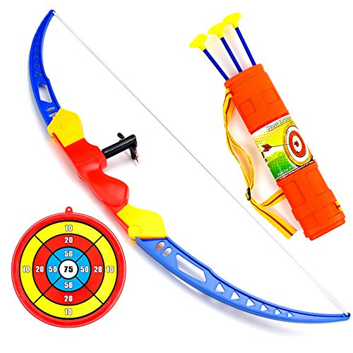 Kids Super Archery Bow Arrow Set, Toxophily Outdoor Sport with Target Quiver, Safe Shooting Hunting Game for Garden Park Fun