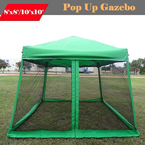 8'x8'/10'x10′ Pop up Canopy Party Tent Gazebo Ez with Net – Green by DELTA Canopies