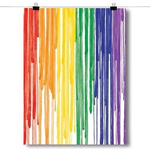 (Inspired Posters Dripping Paint LGBT Pride Flag Poster Size 18x24)