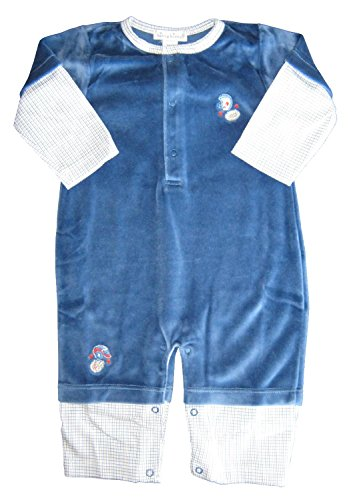 - Kissy Kissy Baby-Boys Infant Wee Warriors VELOUR Playsuit-Navy-3-6 Months