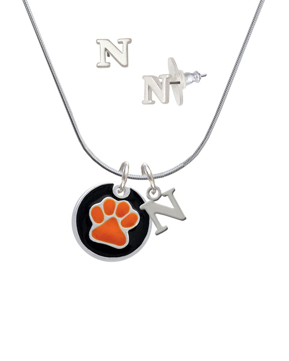 3/4'' Orange Paw in Black Circle - N Initial Charm Necklace and Stud Earrings Jewelry Set