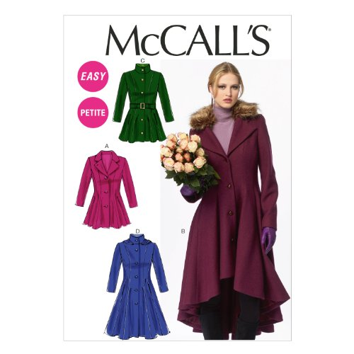 McCall Pattern Company M6800 Misses'/Miss Petite Lined Coats, Belt, Detachable Collar and Hood Sewing Template, Size E5 (14-16-18-20-22) from McCall Pattern Company