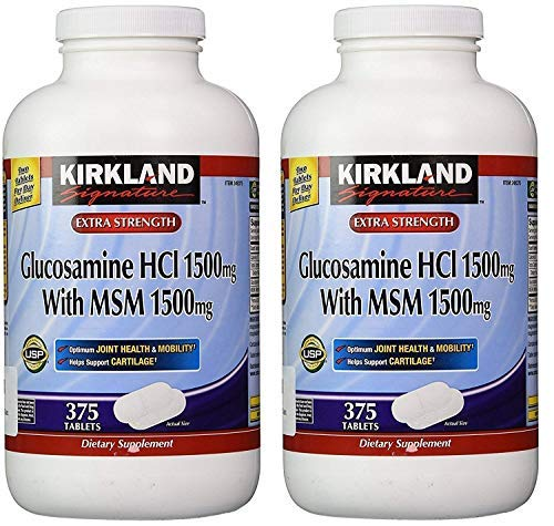 Kirkland Signature Glucosamine HCI (Pack of 2) Extra Strength with MSM (375 Count X 2) by Kirkland Signature