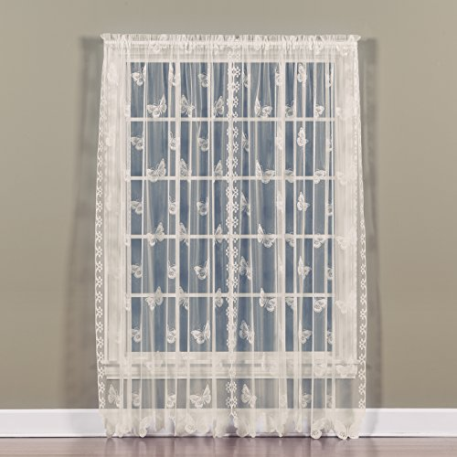 Saturday Knight Butterfly Lace Panel , 56 by 63-Inch, Ivory