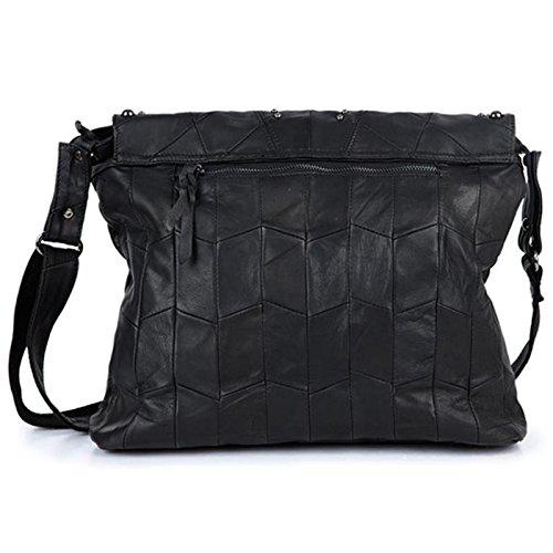 Mefly Bolso De cuero cosido de cadena de tela en el bolso de hombro large