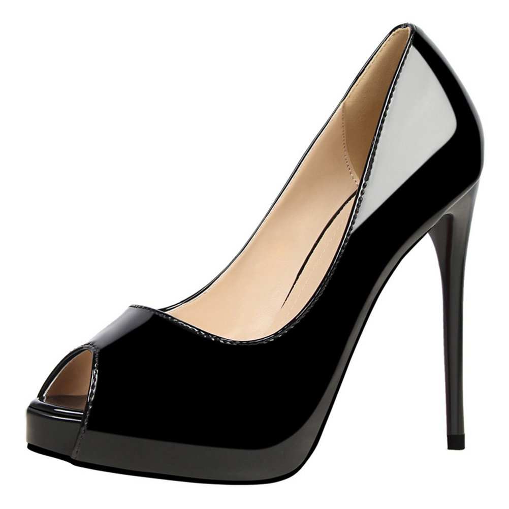 T&Mates Womens Fashion Peep-Toe Platform Stiletto High Heel Patant Leather Slip-on Pumps Sandals (7.5 B(M) US,Black)