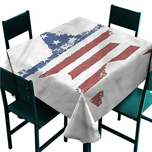 DONEECKL Easy Care Tablecloth Grunge Stars Stripes Washable Tablecloth W63 xL63