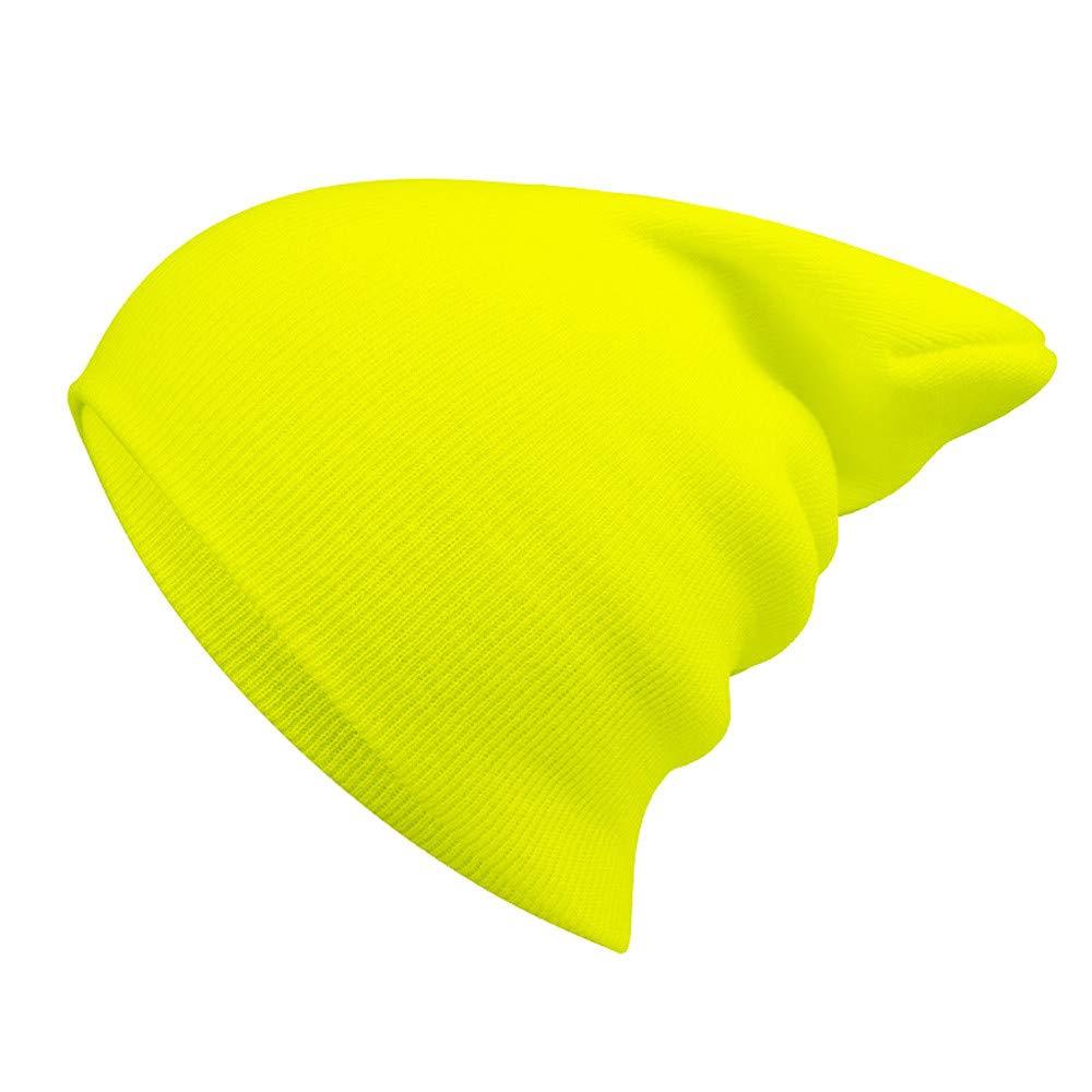Gorro Invierno Hombre Gorras Mujer de Punto Moda Unisex Hip-Hop Sombrero  Hombre Algodón Gorros de Punto Slouch (Amarillo)  Amazon.es  Ropa y  accesorios 330232a8c6e