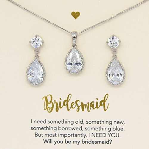 Silver Crystal jewelry Set,Silver jewelry set, Bridesmaid Crystal Jewelry Set,Bridesmaid gift,will you be my bridesmaid, Crystal jewelry set,Bridal jewelry, Set of 5, Set of 6, Set of 7
