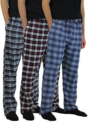 Real Essentials 3 Pack:Men's Cotton Super Soft Flannel Plaid Pajama Pants/Lounge Bottoms,Set 1-L Good Flannel Lounge Pants