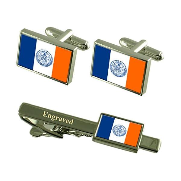 New-York-City-City-USA-Flag-Cufflinks-Engraved-Tie-Clip-Set