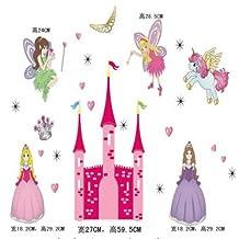 Discountfan Princesse Fée Rose Château Mur Autocollant Amovible Filles Mignon Chambre Décor Maison Art Décalques Enfant Pépinière Chambre À Coucher