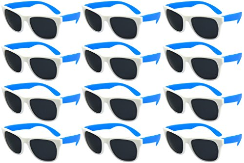 Edge I-Wear 12 Bulk 80s Party Sunglasses Neon Sunglasses for Adult Party Favors Wedding 5402RAWHT/BU-12