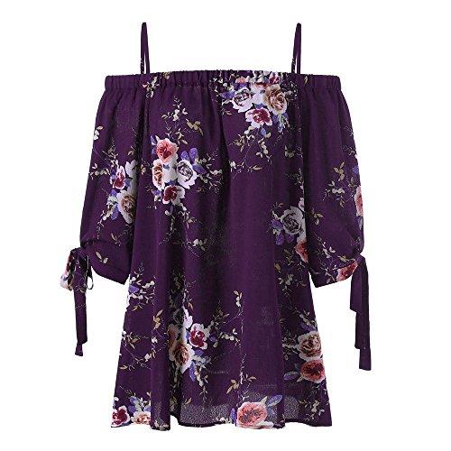 (Toimothcn Womens Plus Size Floral Print Cold Shoulder Tunic Tops Blouse Henly Shirt(Purple,4XL))