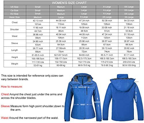PTSOC Women's Winter 3-in-1 Waterproof Ski Jacket Outdoor Mountain Snow Coat Rain Jacket with Detachable Hood