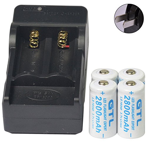 Simply Silver - Rechargeable Battery - 4pcs 16340 CR123 3.7V GTL 2800mAH Li-ion Rechargeable Battery Cell + Charger (Batteries 123 Rechargable)