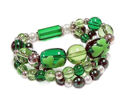 Linpeng St. Patrick's Day Women Handmade Painted Clover Leaf Lampwork Glass Beads Stretch Bracelet, Green