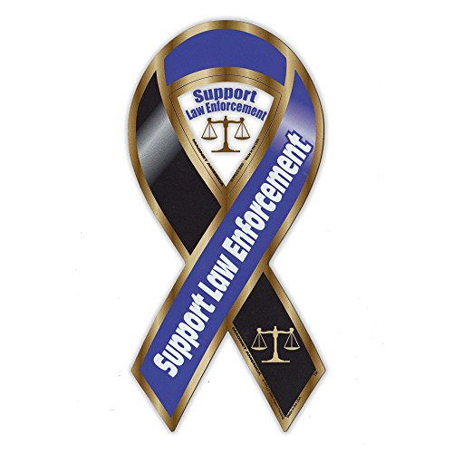 (Magnetic Bumper Sticker - Support Law Enforcement Ribbon Magnet - Cops, Police, Sheriff - 3.75