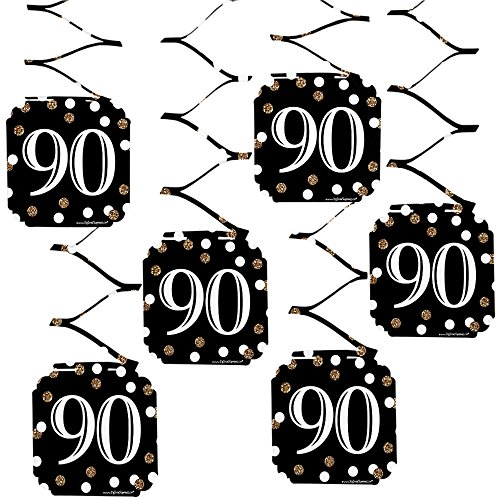 Big Dot of Happiness Adult 90th Birthday - Gold - Birthday Party Hanging Decorations - 6 Count