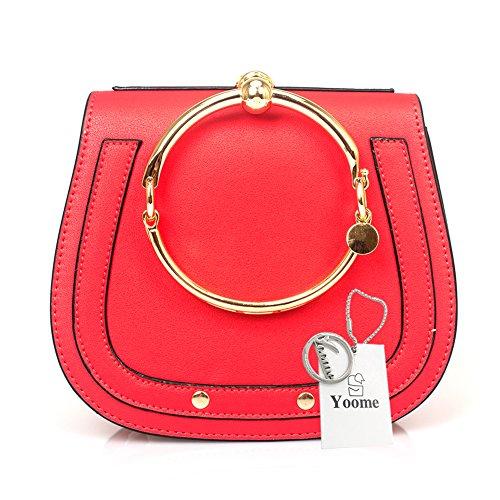Yoome Women Punk Circular Ring Handle Handbags Small Round Purse Crossbody Bags For Girls (Red)