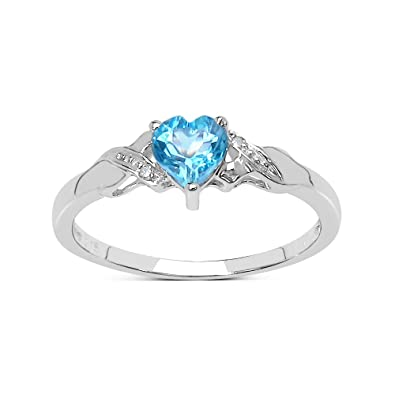 Blautopas Ring Kollektion 9ct Weissgold Herzformige Schweizer Blue