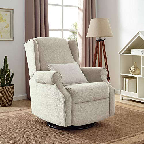 Classic Brands Expo Lovel Popstitch Upholstered Glider Swivel Rocker Chair, Shell
