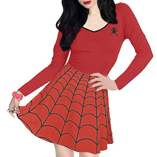 Halloween Party Dress Women Spiderweb Cosplay Swing Long Sleeve Vintage Scary Costume Red M ()