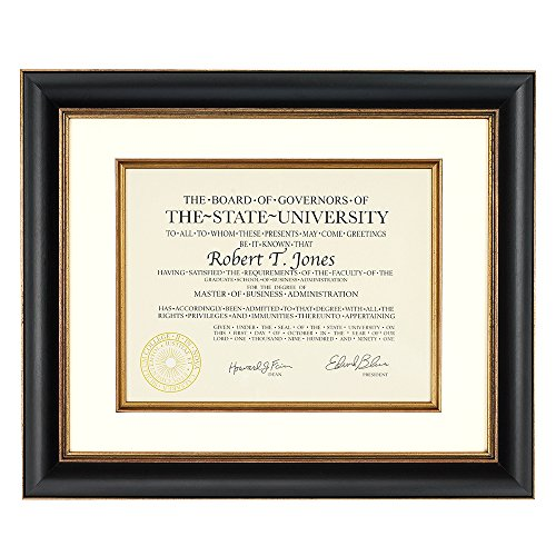 Artcare By Nielsen Bainbridge 12x15 Tuscan Collection Black and Gold Archival Document Frame With Warm White Mat For 8.5x11 Document #RW1661BG. Includes: UV Glazed Glass and Anti Aging - Uv Glass Frame