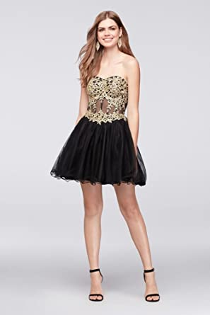 Davids Bridal Short Party Prom Dress with Embroidered Illusion Corset Style 156561, Black, ...