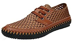 Binggeshi Men's Mesh Walking Shoes Lace Up Outdoor Aqua Water Shoes, Coffee, Size 7.5 D(M) US