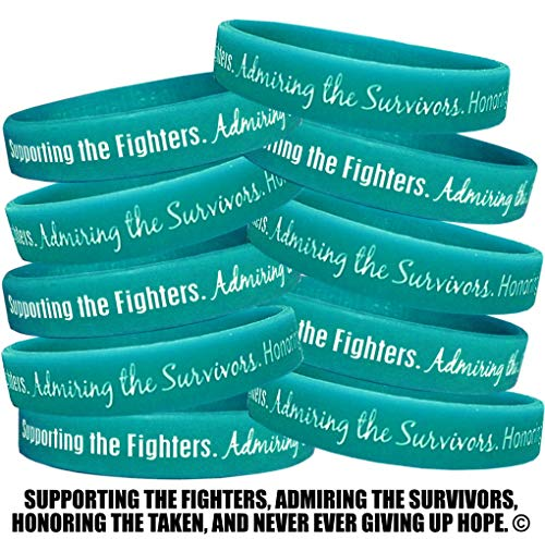 - Fight Like a Girl Supporting, Admiring, Honoring Wristband Bracelet for Ovarian Cancer Scleroderma PKD Batten Disease - Teal (10 Pack)