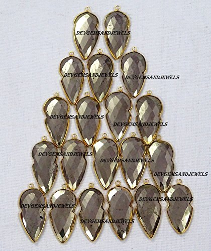 (1 Piece Natural Pyrite Arrow Head Shape 15 X 30 mm Faceted Bezel Single Bail 24k Gold Plated Station Pendant - in wholesale price.)
