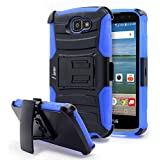 LG Optimus Zone 3 Case, Rebel LTE / Spree / K4 Case, NageBee [Heavy Duty] Armor Shock Proof Dual Layer [Swivel Belt Clip] Holster with [Kickstand] Combo Rugged Case (Blue)