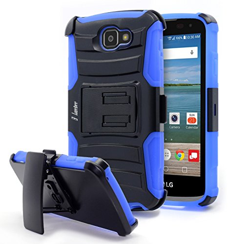 LG Optimus Zone 3 Case, Rebel LTE / Spree / K4 Case, NageBee [Heavy Duty] Armor Shock Proof Dual Layer [Swivel Belt Clip] Holster with [Kickstand] Combo Rugged Case (Blue) (Outter Box For A Lg Optimus)