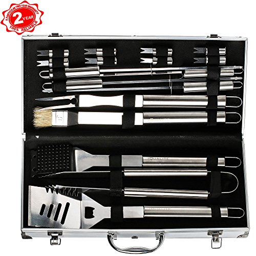 BBQ Grill Tool Set Barbecue Grill Utensils Outdoor Barbecue Stainless Steel Accessories Grilling Tool Kit in Portable Carrying Case (17-Piece) (Barbaque Grill)