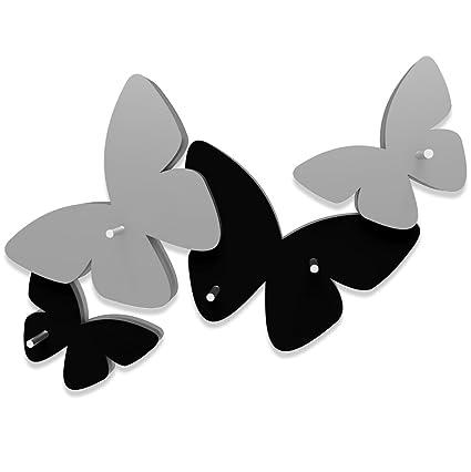 Appendiabiti Da Parete Farfalle.Calleadesign Portachiavi Da Parete Farfalle Colore Nero