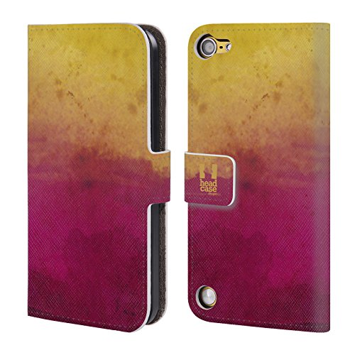 Head Case Yellow And Magenta Watercoloured Ombre Cover telefono a portafoglio in pelle per Apple iPod Touch 5G 5th Gen / 6G 6th Gen