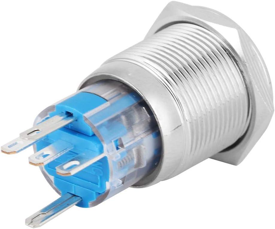 EBTOOLS Bouton de Voiture LED 12V LED 0.7in m/étal Bouton-Poussoir Interrupteur Marche//arr/êt Accessoire pi/èce pour Moto Bleu