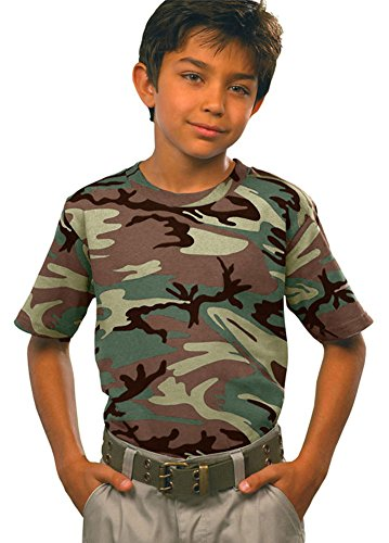 Code V Youth Ribbed Crewneck Camouflage Jersey T-Shirt, Green Woodland, Medium