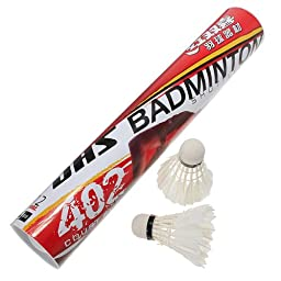 12 x DHS Training White Goose Feather Shuttlecocks Birdies Badminton Ball Game