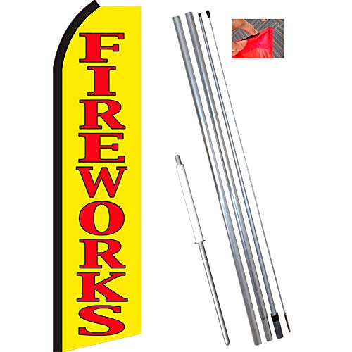 Used, FIREWORKS (Yellow/Red) Flutter Feather Flag Bundle for sale  Delivered anywhere in USA