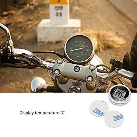 Motorcycle Temperature Stick On, FORNORM Universal Digital Motorbike Motorcycle Digital Thermometer Waterproof with 3M Adhesive for Car Motorcycle Kitchen Bathroom