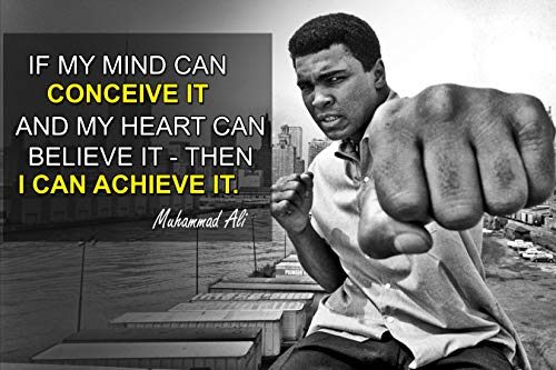 Muhammad Ali Poster Quote Boxing Black History Month Posters Sports Quotes Decorations Growth Mindset Décor Learning Classroom Teachers Decoration Educational Teaching Supplies Black Wall Art P045 ()