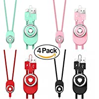 Ownest Neck Lanyard iPhone Charger,[4 Pack ] Nylon Braided Lanyard 3 in 1 Phone Cable&Phone Strap&Ring Holder cable to USB Lightning Charger Compatible with iPhone 8/7/6/6s,8/7/6/6s Plus Gift
