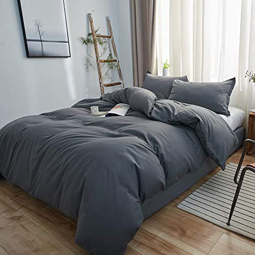 SORMAG Bedding Duvet Cover Queen Size 3 Piece, Ultra Soft Double Brushed Microfiber Hotel Collection, Duvet Cover with Zipper Closure, Gray